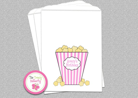 Pink Movie Birthday Party , Popcorn Bag , Candy Bag , Party Favor Bag