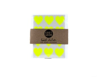 144 Neon Yellow Heart Stickers / FREE SHIPPING