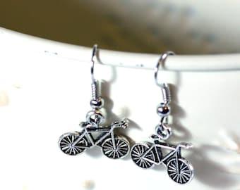 Bicycle Silver Metal Charm Earrings - Fun Earrings - Whimsy earrings - Bike earrings - marathon - womens jewelry - kid earrings
