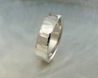 artisan handmade hammered platinum wedding band, 6mm wide, comfort fit mens wedding ring