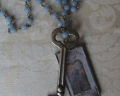 Soldered Charm Vintage Blue Bead Necklace Charmed Vintage MAGICAL WORLD