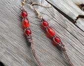 Brown and Red Hemp Earrings - Dangle 3.5 inch