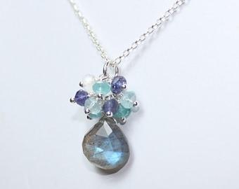 Labradorite Necklace, Cluster Pendant, Blue Flash, Labradorite Jewelry, Sterling Silver Gemstone Jewelry