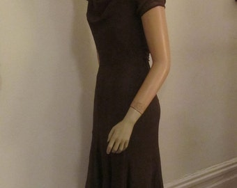 SALE  20s/30s Cocoa Brown Afternoon Tea Dress