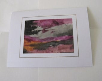Hand painted card silk design gray,black orange pink abstract pattern