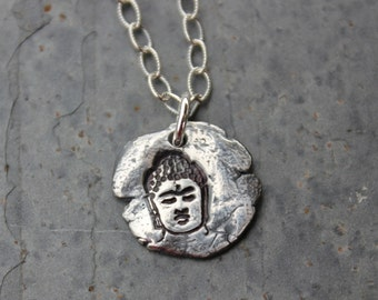 Buddha Fragment Necklace - Buddhist freeform fine silver antiqued handmade charm - Zen Meditation - sterling silver chain- free shipping USA