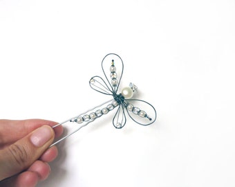White Pearl Dragonfly Hair Pin - Oxidized Sterling Silver - Tagt Team
