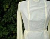 Vintage 60s Dress // Yellow Cotton Swiss Dot Dress // Long Sleeve Sheer Dress // Yellow Prairie Day Dress // Country Dress