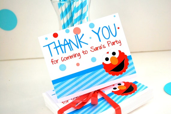 Elmo Thank you Cards, 12 Elmo Thank you for coming to my Party Thank you Note Cards A788