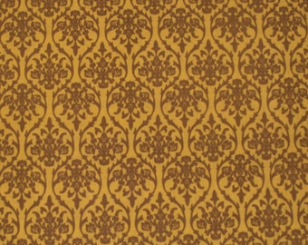 hand printed cotton fabric - yellow and brown print fabric - 1 yard - ctjp122