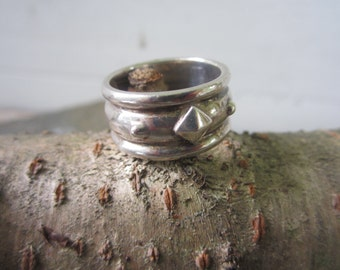 Sterling Silver Ring. Wide Band.