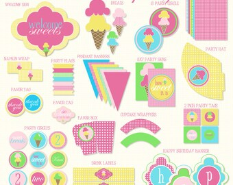 Ice Cream Party PRINTABLE Birthday from Love The Day