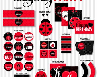 Ladybug Party PRINTABLE (INSTANT DOWNLOAD) Birthday by Love The Day