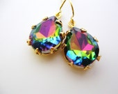 Rainbow Jewels in Gold - Estate Jewelry - Wedding Bridal Earrings