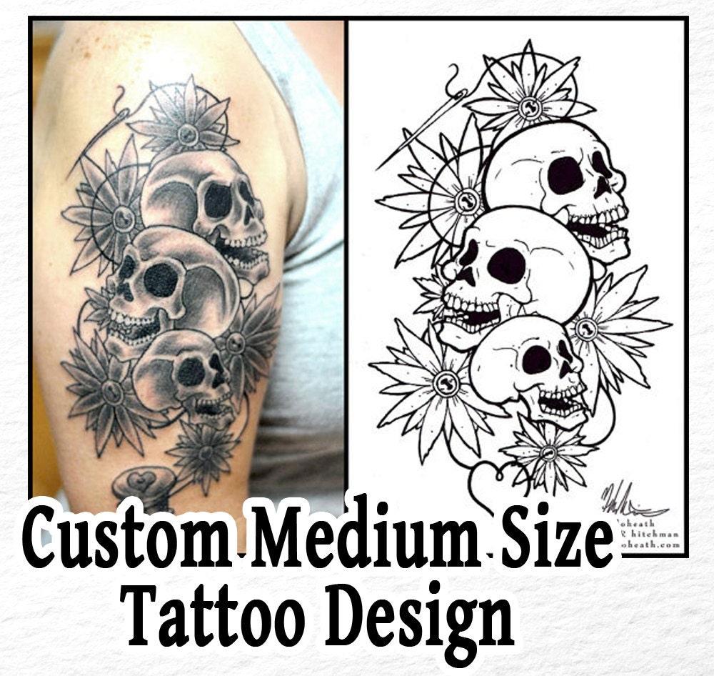 Tattoo Ideas Medium: CUSTOM Medium / Medium Wrap Around Tattoo Design Commission