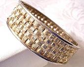 Open Weaved Hinged Bracelet Gold Tone Vintage Bangle Wide Clamper Style