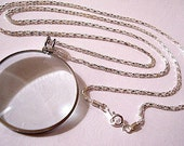 Necklace Magnifier Silver Tone Vintage 5x Power Round Pendant Weaved Link Chain