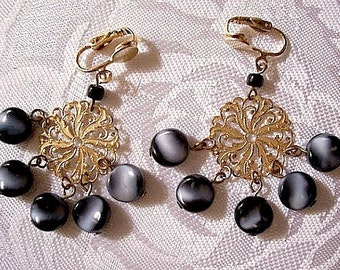 Black White Moonglow Bead Discs Clip On Earrings Gold Tone Vintage Open Filigree Scrolls Extra Long Dangles