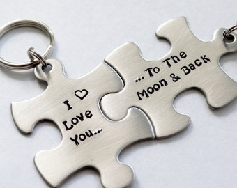 To The Moon And Back - Matching Keychains. Couple's Puzzle Piece Keychains.  His and Hers I Love You To The Moon. Matching Couples