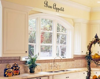 Kitchen Wall Art Decals  - Bon Appetit - Removable Vinyl Wall Graphic by Katazoom