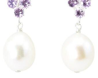 Principessa amethyst and freshwater pearl earrings bridesmaids 3 pack
