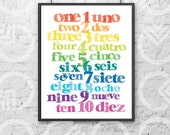 """Instant Download - Printable - 8""""x10"""" Art Print - Spanish and English Numbers - Nursery Decor - Bilingual Baby - Colorful - Educational"""