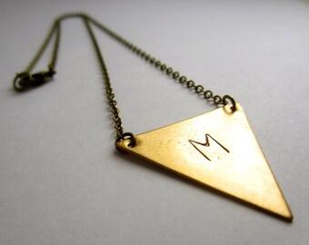 Brass Jewelry Triangle Initial Necklace Geometric Jewelry Initial Jewelry Custom Personalized Necklace Brass Triangle
