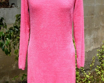 Designer Dress - Vintage Patricia Field Cozy Pink Fleece Mini Dress Long Sleeve Body Con Modern Design