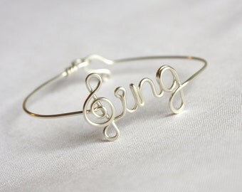 Sing Bangle with Treble Clef - Sterling Silver, Yellow Gold Filled or Copper Available