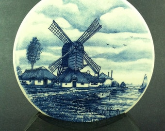 Vintage H R Johnson Ltd English Tile Trivet Cobalt Blue and White Windmill