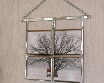 Fine Art Photography Print Tree with Red Fuel Tank in Vintage Film Hanger Frame