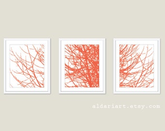 Modern Tree Branches Print Set  Abstract Tree Wall Art Coral And White Home Decor Woodland Inspired