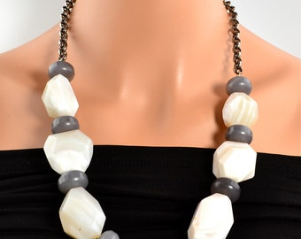 LP 112 Grey And White Botswana Agate Nugget Statement Necklace