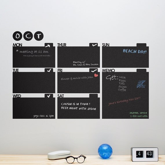 Chalkboard Decal Wall Planner - Wall Calendar for Home / Office - 0020