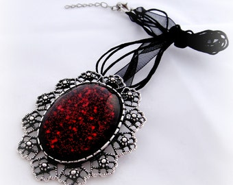 Black blood gothic brooch, Vampire necklace, Halloween jewelry