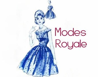 Modes Royale Dress Pattern / 50s 60s Full Skirt Party Day Dress with pointed patch pockets D-245