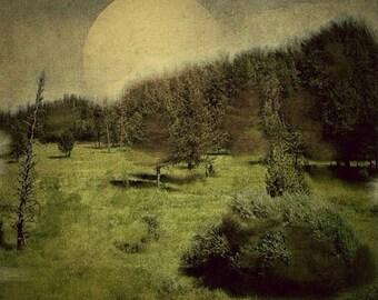 Landscape Photography Digital Art Pop Surealism iPhonography Full Moon Dark Art Waha, Idaho