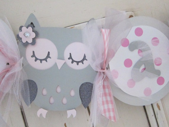 Baby Shower Pink and Gray Owl Banner Photo Prop It's a Girl