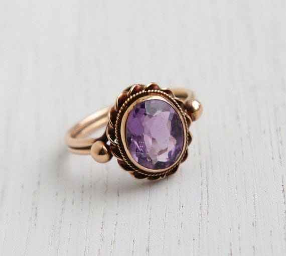 Antique 14k Rose Gold Victorian Edwardian Amethyst Ring