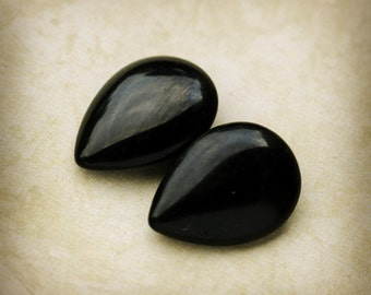 Vintage 18x13mm Jet Black Pear Pears Teardrop Teardrops Glass Jewels Gems Stones, Unfoiled Backs, Smooth Tops, Quantity 2