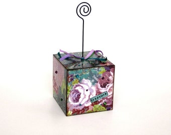 Decoupaged Wire Photo Holder Cube Picture Recipe Holder Floral Purple Word Treasure Gift for Her