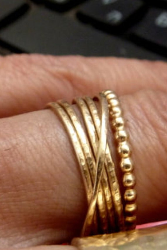 Six Stacking Gold Rings - Gold filled Rings - Unisex Rings - Handmade Jewelry - Beaded Ring - Russian Wrapped Rings - Venexia Jewelry