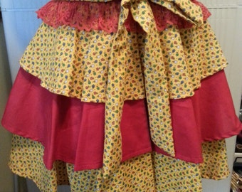 Clearance Yellow and Red Flower Apron