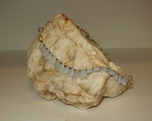 Blue Chalcedony and Brushed Gold Necklace