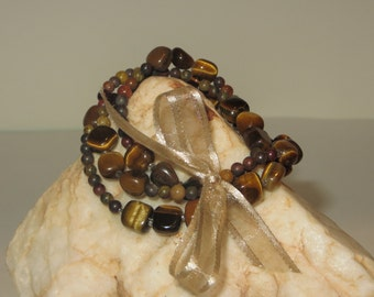 Multi Strand Stretch Bracelets in Tiger Eye and Stone Beads