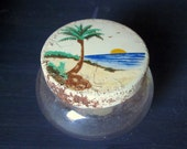 Vintage Jelly Jar, Crabapple Jelly, Norman Import and Export Co, Los Angeles, CA, Tropical Lid Design
