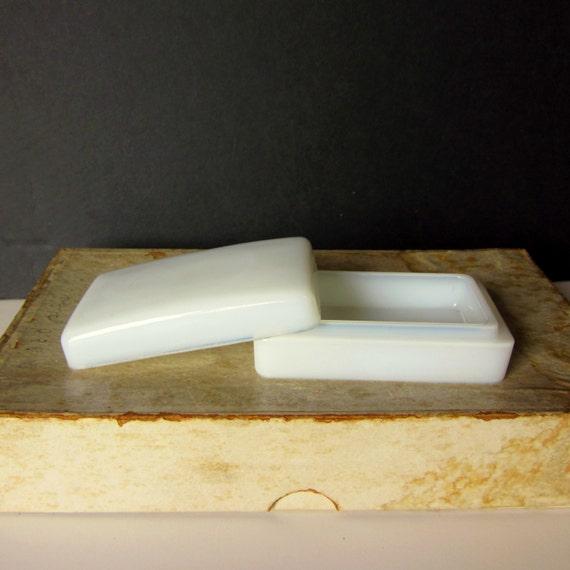 Vintage White Milk Glass Box Nadinola Beauty Cream Container