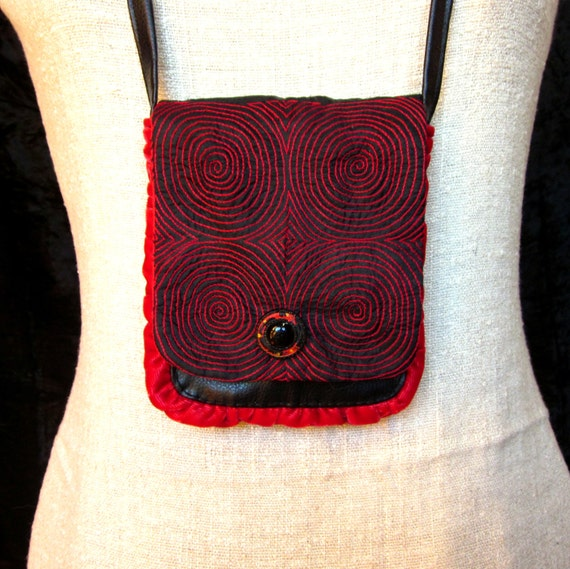 Handmade Small Purse with Black and Red Embroidered Silk Flap, Faux Leather, Red Velvet and Vintage Button
