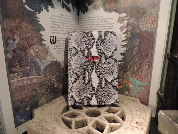 Journal-----Mythical Beast Book (The Watchful Eye-Black and White  Snakeskin Print with Red eye)