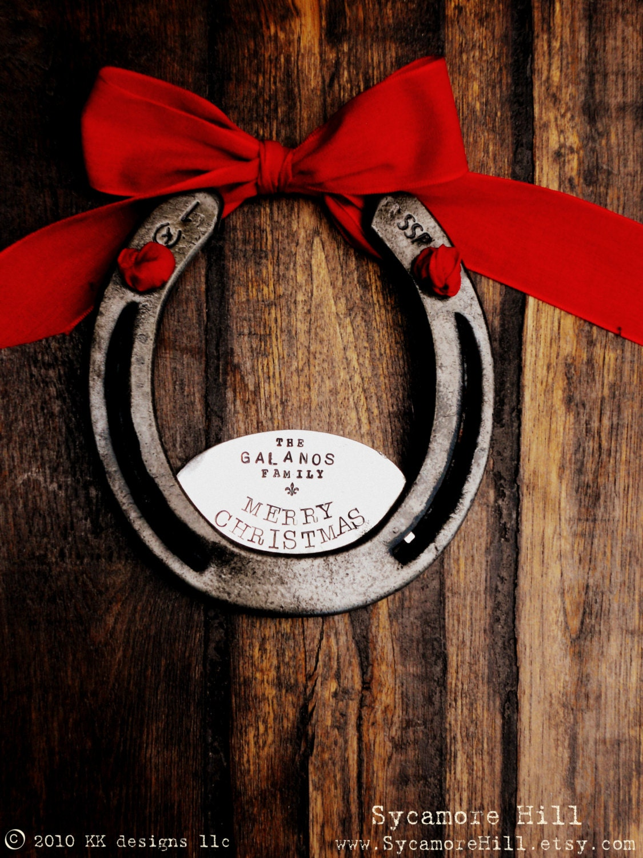 Custom The Fleur De Lis Merry Christmas Horseshoe